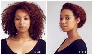 Antes e depois do coque torcidinho