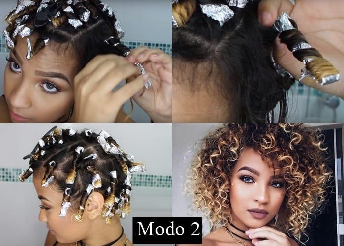 Mulher fazendo texturização no cabelo com alumínio