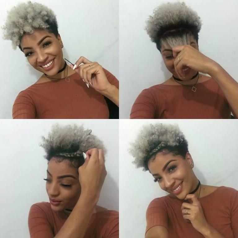 Mulher de cabelo crespo com tiara de trança